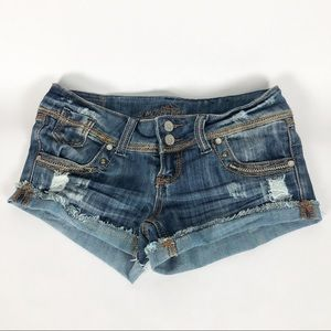 Girls Distressed Blue Jean Shorts